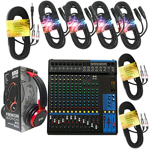 (Yamaha Package Bundle - Yamaha MG16 16-channel Analog Mixer + EMB EBH700 Pro Preminum Wire Headphone + 4 XLR XLarge Cables + 3.5mm to Dual 1/4