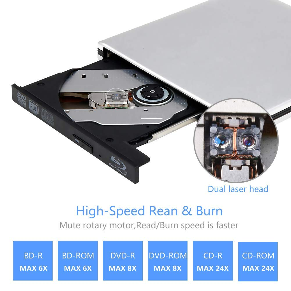 External 4K 3D Blu Ray DVD Drive, Portable USB 3.0 Blu Ray DVD Burner Player Reader Disk for Mac OS, Windows 7/8/10,Linxus, Laptop by MOGLOR (Image #3)
