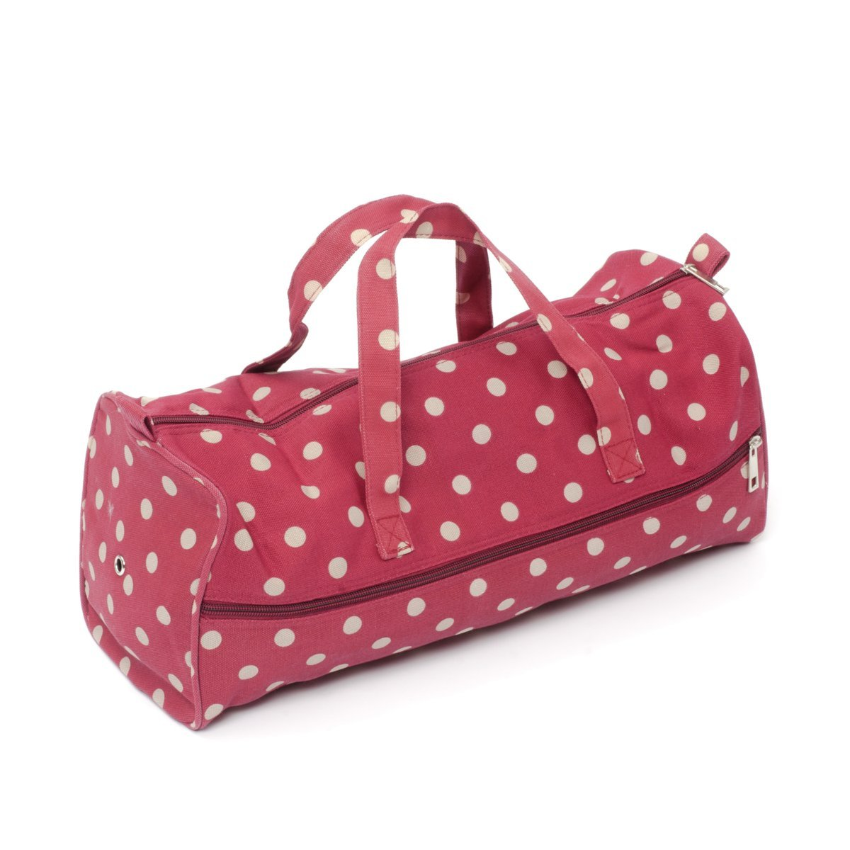 Hobby Gift Polka Dot Design Knitting Bag White Spots on Red (15 x 42 x 17.5cm)