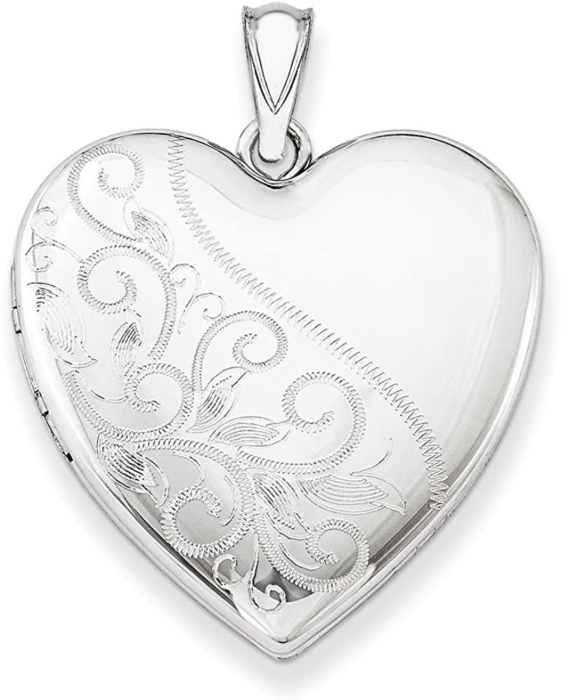 .925 Sterling Silver Scrolled Heart Family Locket Charm Pendant