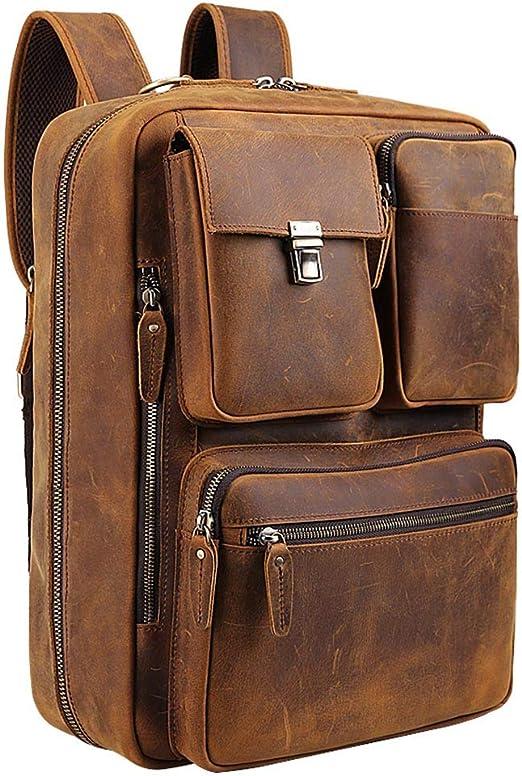 Mens Canvas Briefcase Multi-Pocket Backpack Work Laptop Messenger Shoulder Bag