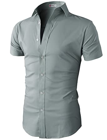 89bae769ed37 H2H Mens Fashion Designer Dress Shirts Men Stylish Short Sleeve Gray US  S/Asia M