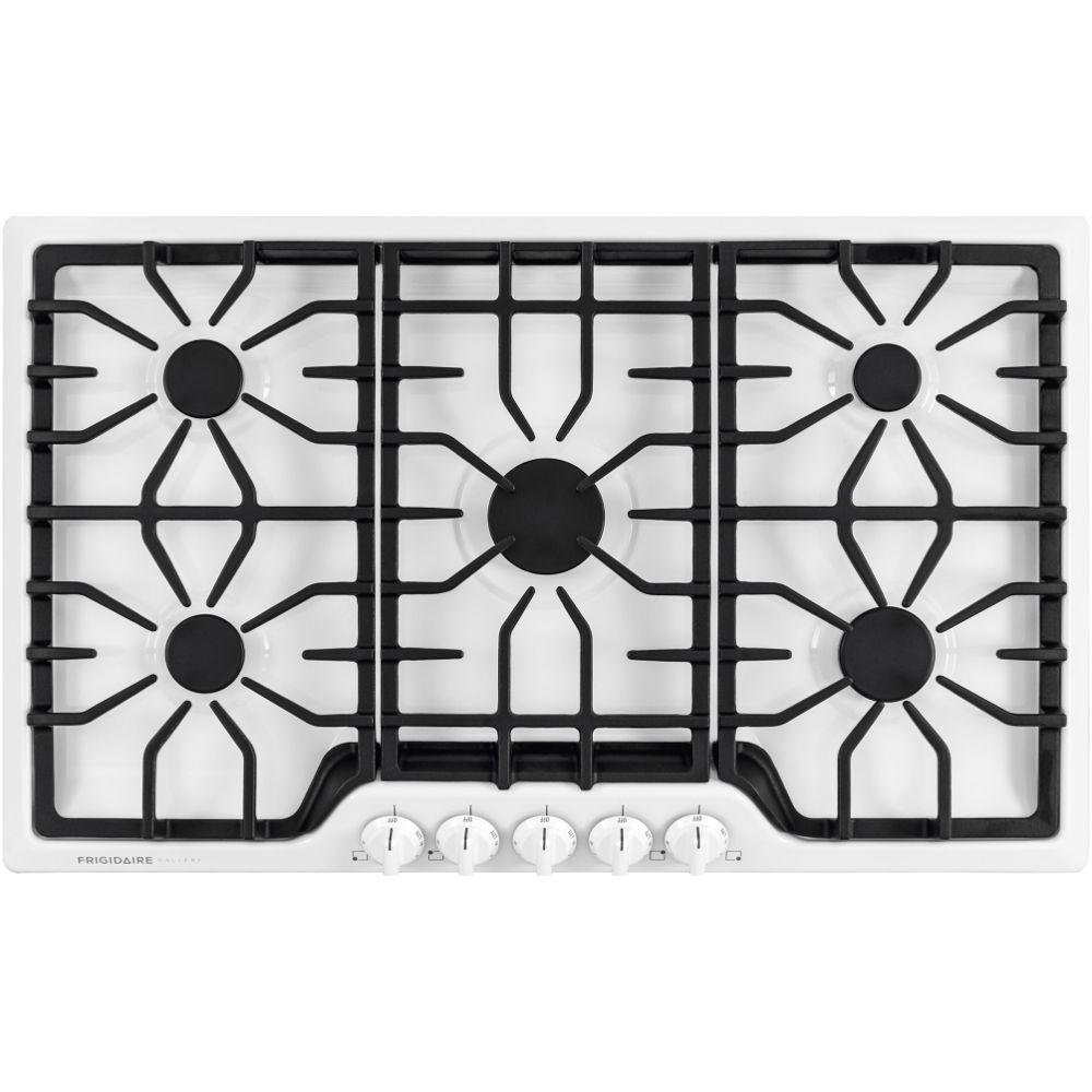 "Frigidaire Gallery White 5 Burner Gas 36"" 36 Inch Stovetop Cooktop FGGC3645QW"