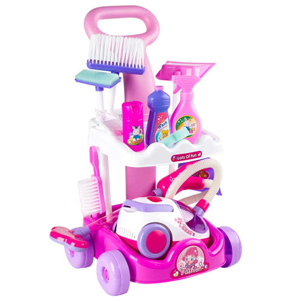 ALXDR Kids Cleaning Trolley with Vacuum Cleaner Cleaning Set, Cleaning Cart for Kids Pretend Toy Age 3 Years & Up