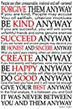 CANVAS Mother Teresa Quote some letters in red 24x36 Gallery Wrap Art Wall Decor. motivational Typography