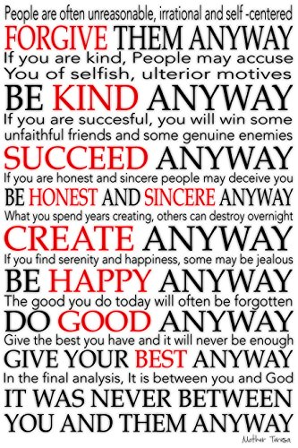 CANVAS Mother Teresa Quote some letters in red 24x36 Gallery Wrap Art Wall Decor. motivational Typography by Buyartforless