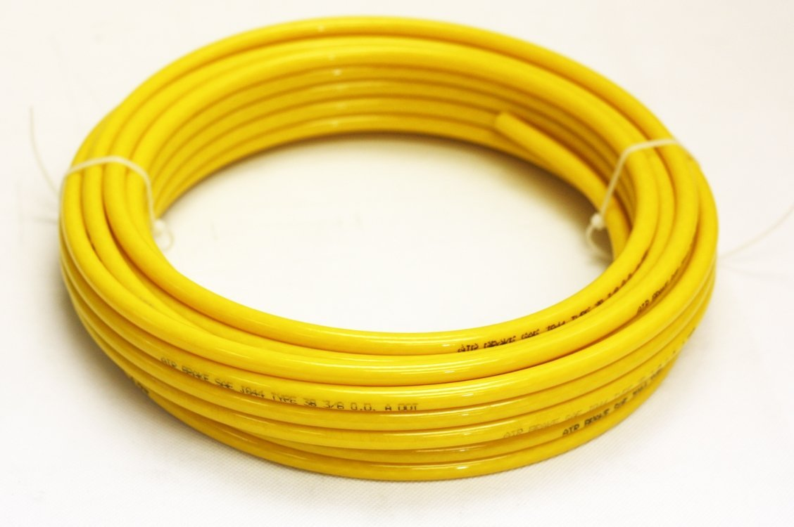 Mytee Products 3/8'' OD x 50' SAE J844 Nylon Air Brake Tubing DOT Approved - Yellow