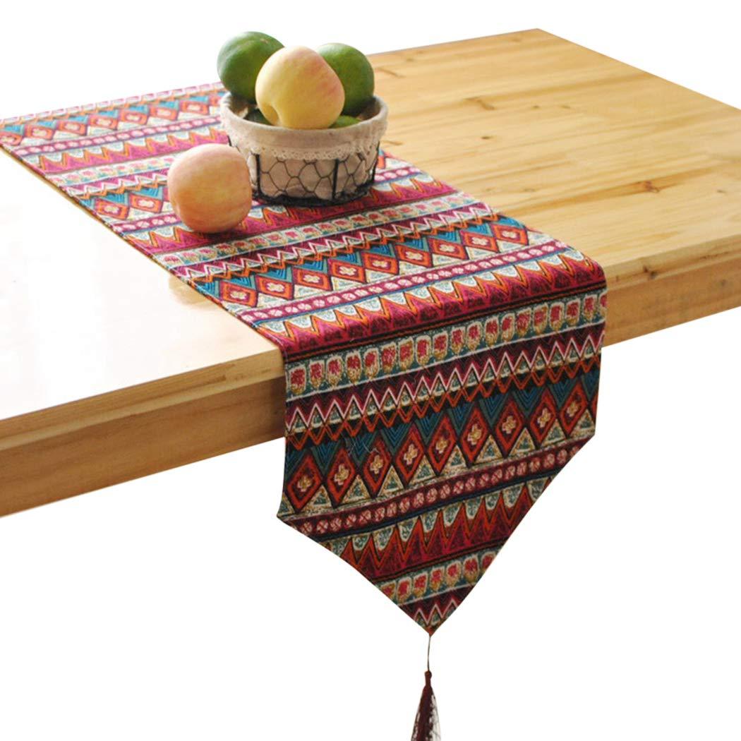 Coxeer テーブルランナー ファッション装飾タッセル装飾 パーティーテーブルランナー 南東アジアスタイル ミックステーブルランナー ホームデコレーション用 L LOY91531XL3088Q7KUM57  ワインレッド B07HF4R95T