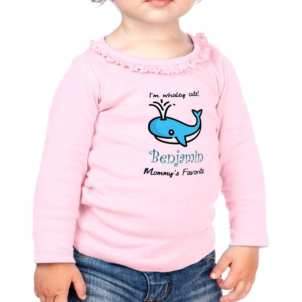 Personalized Custom Whaley Cute Cotton Toddler Long Sleeve Ruffle Shirt Top