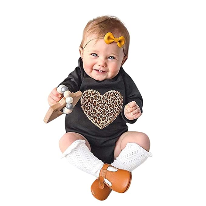 ea1502778 Amazon.com: OUBAO Baby Romper Summer Toddler Baby Boy Girls Summer Long  Sleeved Rompers Leopard Print Jumpsuit Outfits Clothes: Clothing