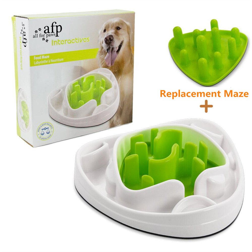 ALL FOR PAWS Interactive Food Maze Fun Slow Feeder Dog Bowl 2 Interchangeable Mazes