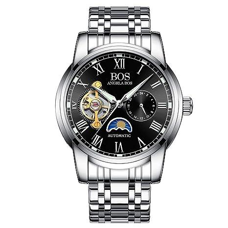 North King Muñeca mecánica Relojes Fecha Banda de Acero Negro clásico de exhibición mecánica de los