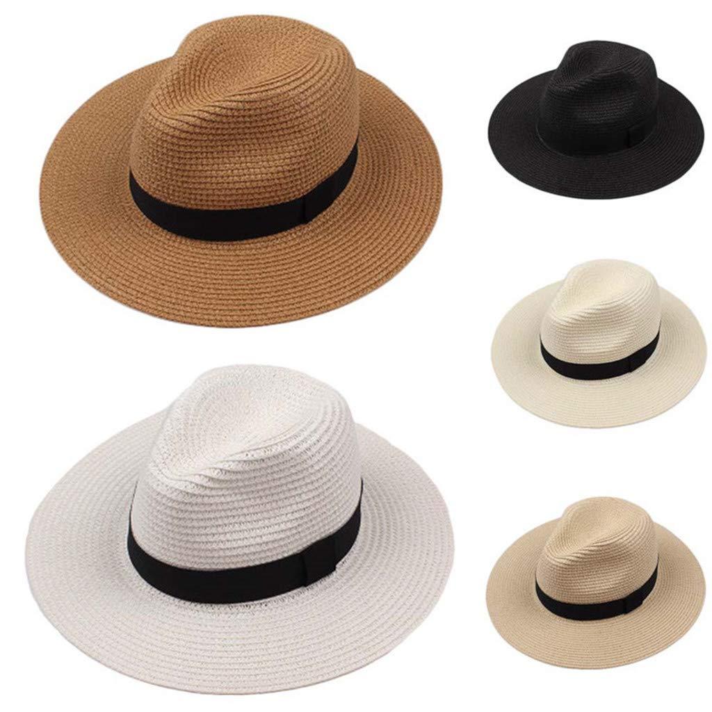 Paja Tejido UPF 50 Pwtchenty-Sombrero Mujer Sol Sombrero Verano Reversible Gorro de Playa Plegable Tapa de ala Ancha