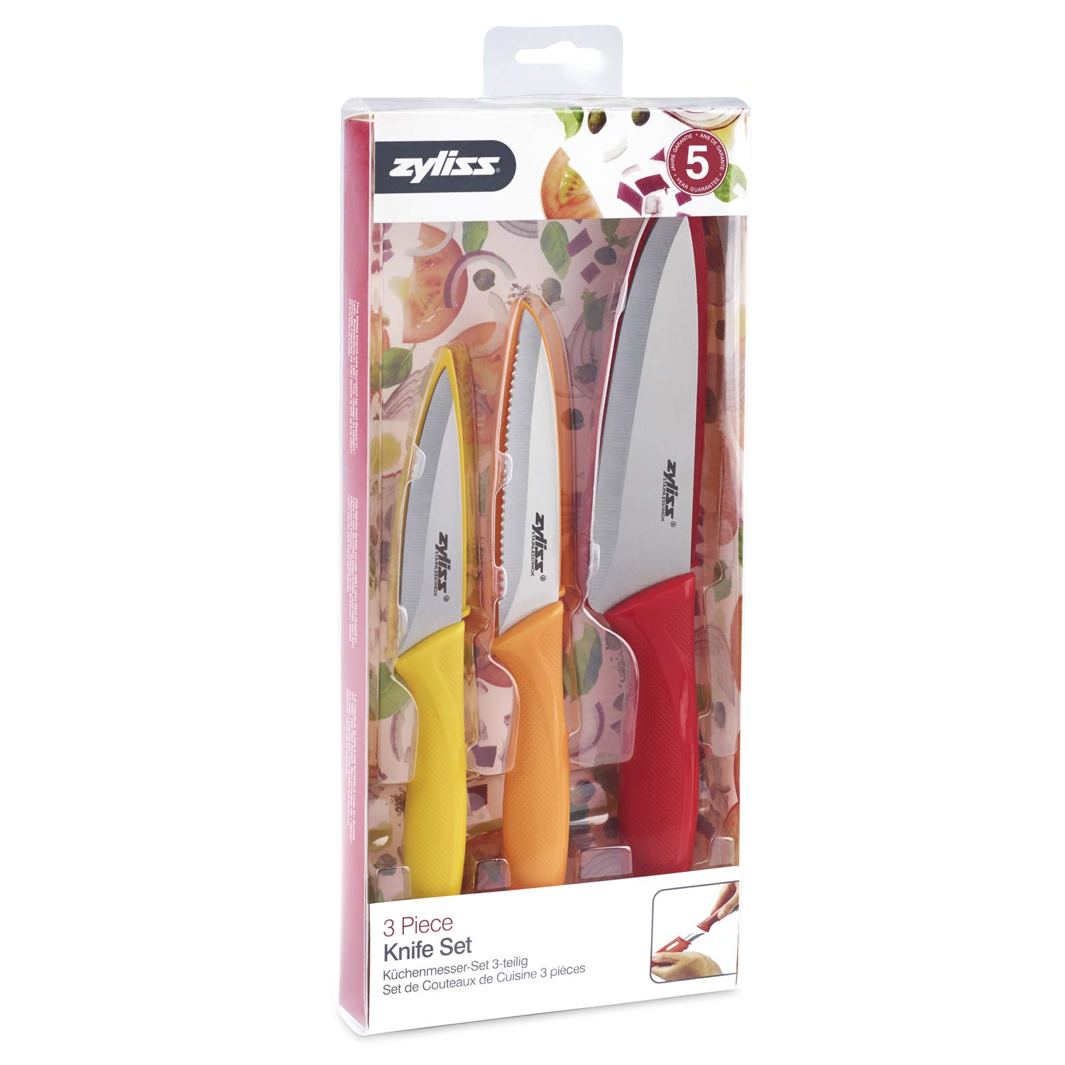 ZYLISS 3 Piece Paring Knife Set with Sheath Covers by Zyliss