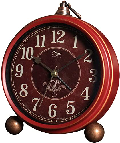 JUSTUP Red Table Clock,Vintage Decorative Non-Ticking Small Table Desk Alarm Clock with Battery Operated Silent Quartz Movement HD Glass for Bedroom Living Room Kitchen Office Classroom A