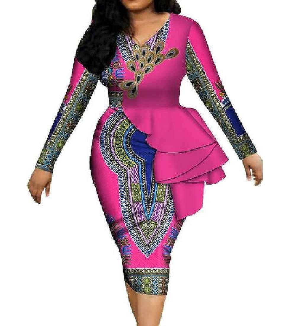 15 CRYYU Women VNeck Ruffle African Print Dashiki Long Sleeve Party Pencil Dress