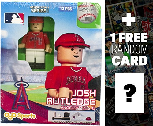 MLB Josh Rutledge - LA Angels of Anaheim x OYO Sportstoys Minifigure G4 Series 1 + 1 Free Official Trading Card Bundle [17938] ()