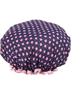 997fbd09fc4c2 Women Double Layer Waterproof Shower Cap Polka Dots Printed Bath Cap  Elastic Band Spa Shower Hat