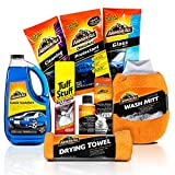 Armor All & Tuff Stuff Used Car Cleaning Kit (8 Items) 3pc Wash Bundle with Soap - Microfiber Mitt & Towel and 5pc Interior Care-Glass Wipes - Foam Carpet Spray - Protectant - Air Freshener & More