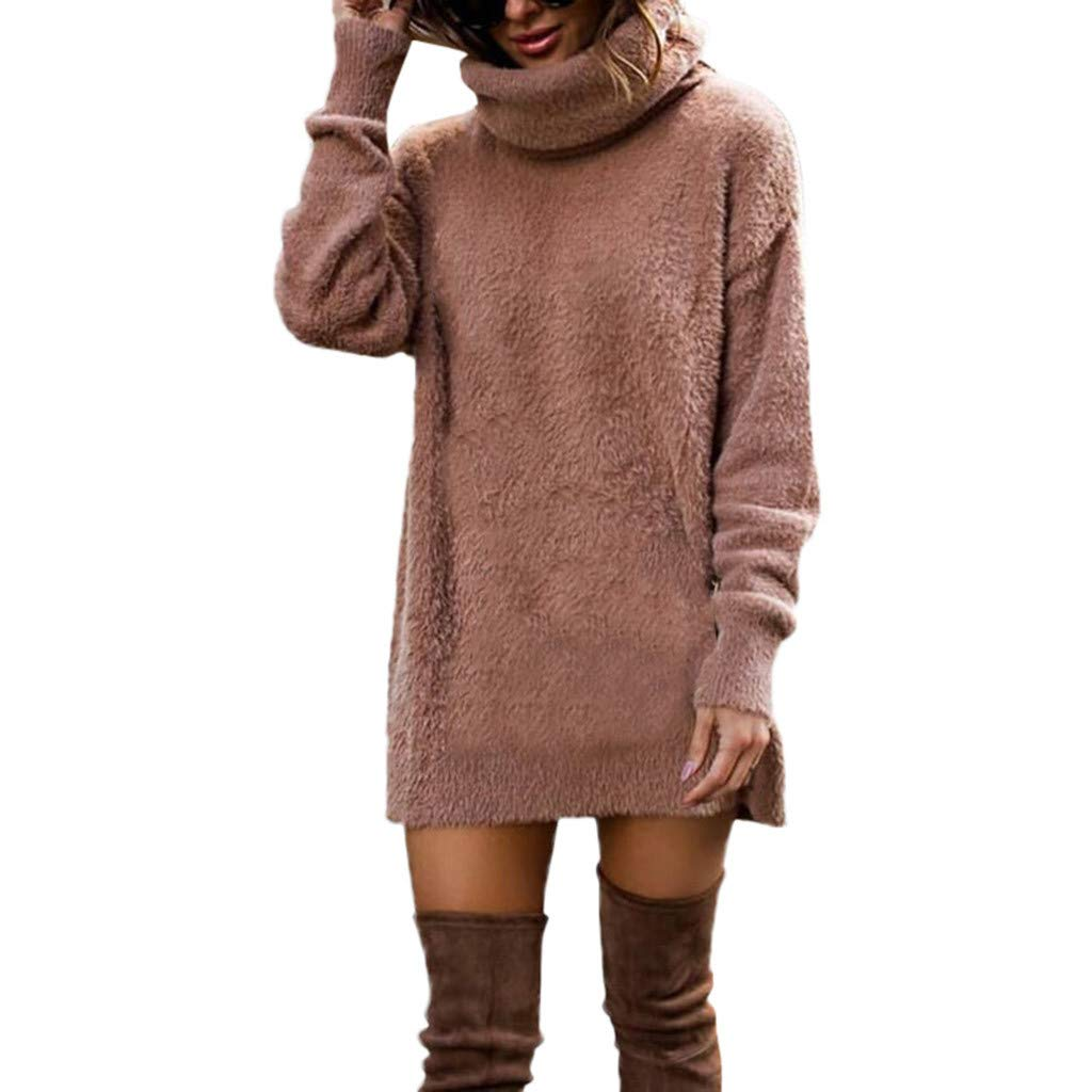NUWFOR Women's Fashion Long Sleeve Solid Color Sweaters and Knitted Sweaters(Khaki,US:12/CN:M)