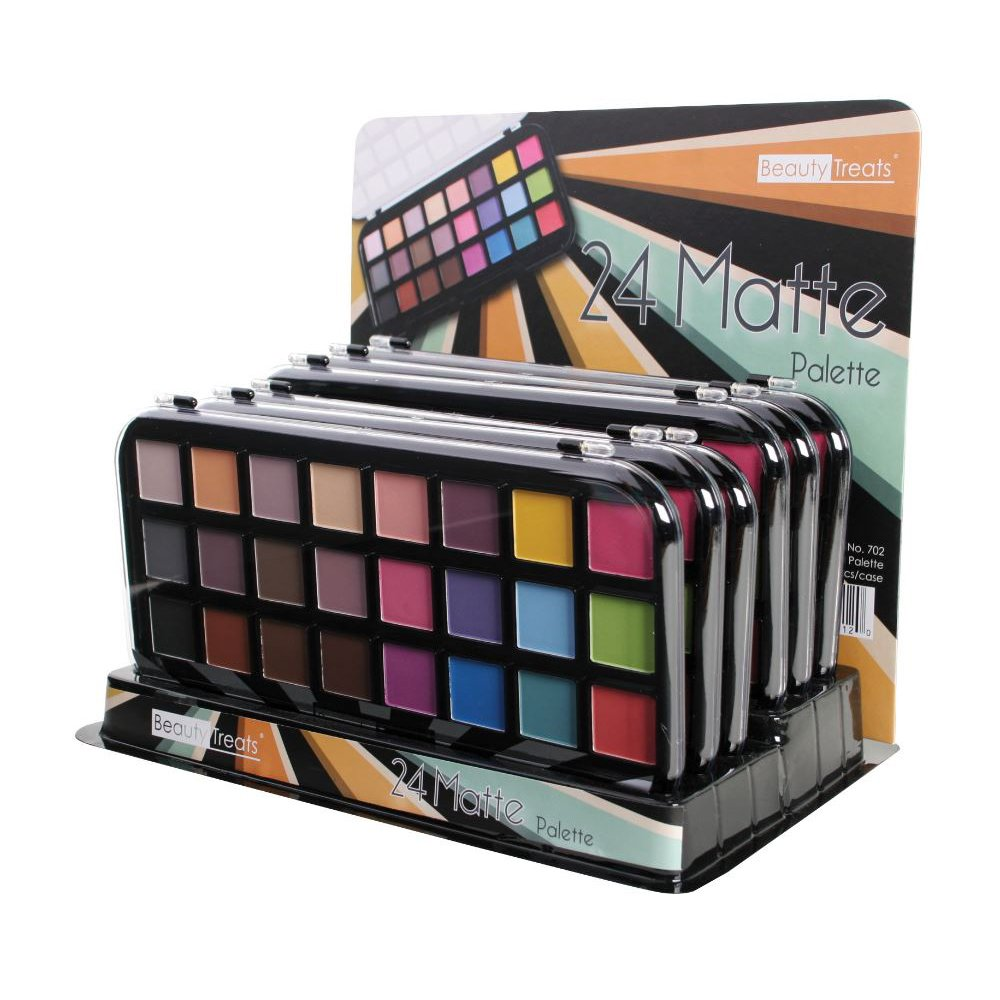 BEAUTY TREATS 24 Matte Palette Matte Eyeshadow Colors Display Case Set 12 Pieces