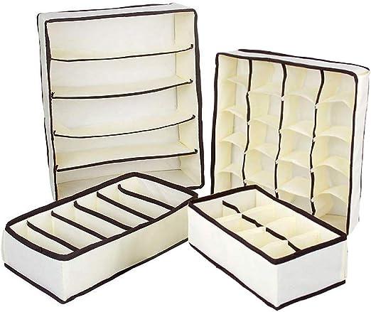 QIF Organizador de Ropa Interior,4 Cajas Plegables Organizadores ...