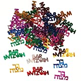 Multicolored Bar Mitzvah Confetti in Hebrew and English, Barmitzvah Confetti Decorations for a Jewish Party