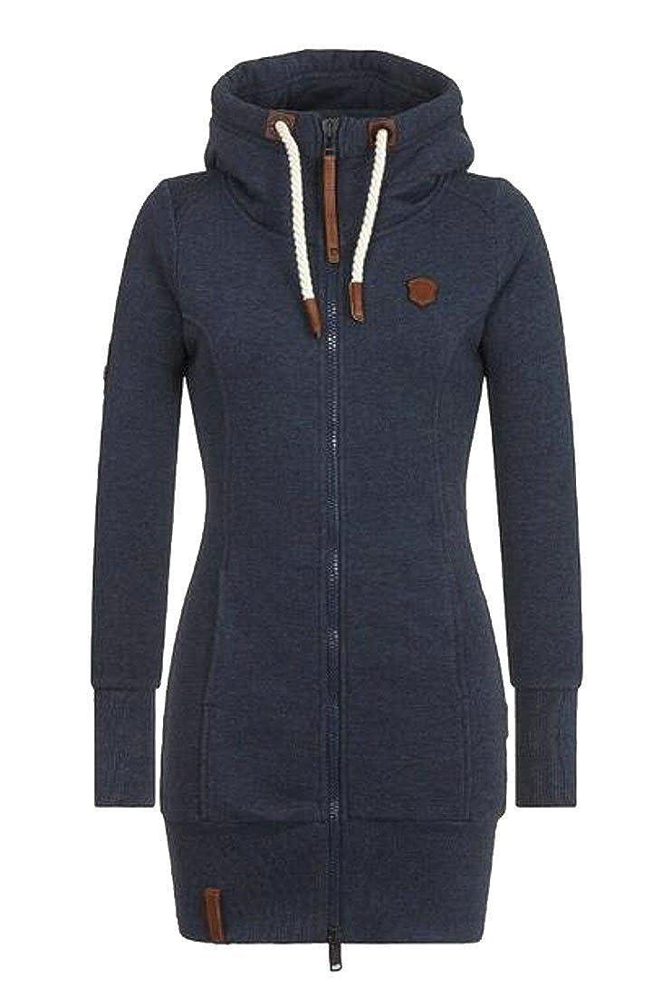 Fubotevic Womens Hoodie Long Sleeve Zip up Solid Midi Pullover Hoodies Sweatshirt