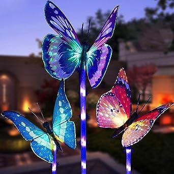 LED Luces Solar exterior Mariposa Impermeables Luz,MMTX 3 Piezas jardín Luces de juego solar cambio de color Fibra óptica Mariposas al aire libre decoraciones de fiesta para césped patio camino: Amazon.es: Iluminación