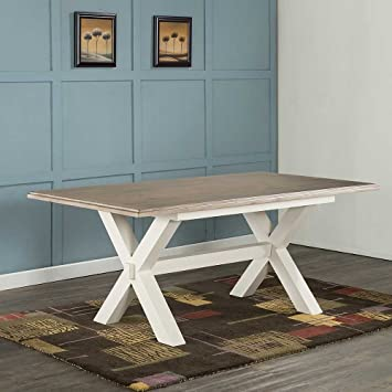 Fine Portland Pine Cross Leg Dining Table Seats 6 Antique White Squirreltailoven Fun Painted Chair Ideas Images Squirreltailovenorg