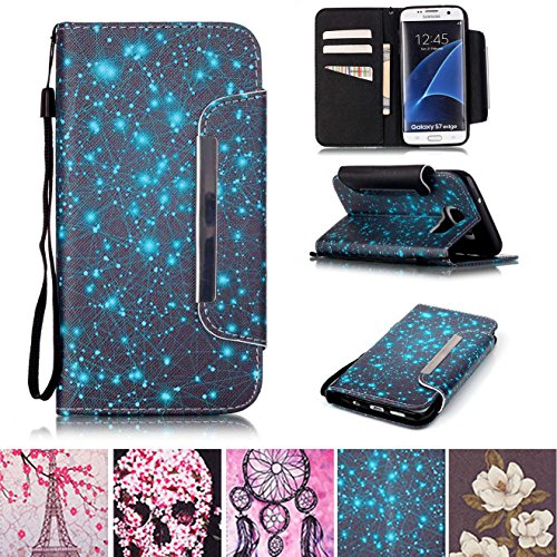 Galaxy S7 Edge Case, Kickstand Card Slots Cash Holder Dual Layer Impact Resistant Case Cover with Wrist Strap Magnetic Snap Closure for Samsung Galaxy S7 Edge- Starry