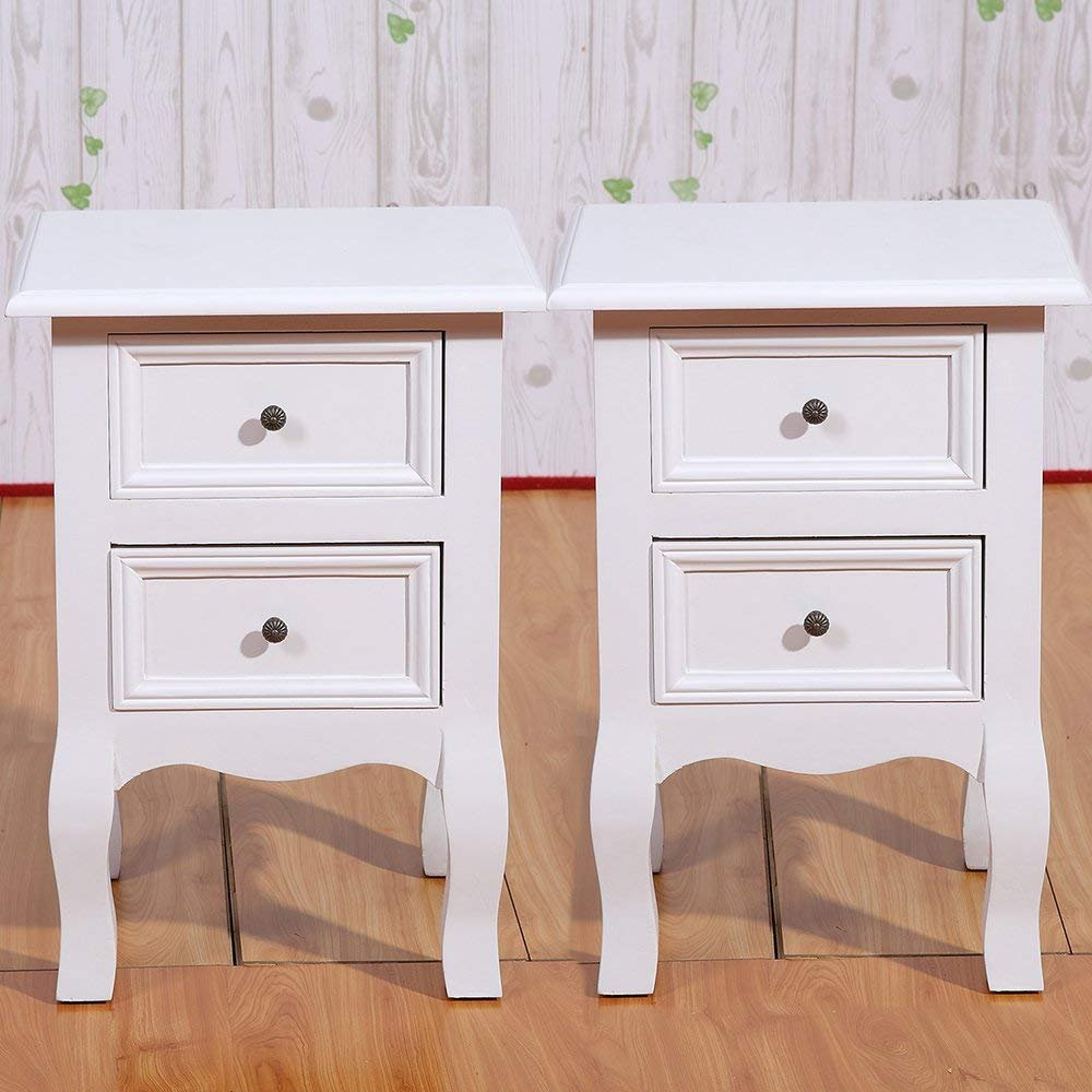 Set of 2 Small Table White Wood Bedside Table End Side Table with 2 Drawers for Small Room 11.81x11.81x19.69in(2 drawer)