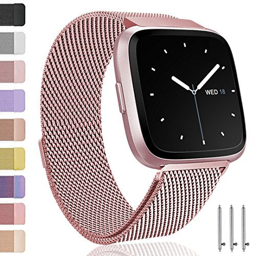 - Ouwegaga Compatible for Fitbit Versa Bands Versa Lite Bands Women Men Straps Rose Gold Small