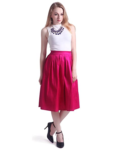 HDE Women's High Waist A Line Street Skirt Pleated Flared Full Midi Skirt (Fuschia, L)