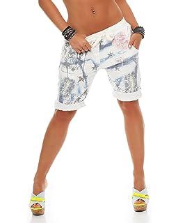 ca0732a626fb ZARMEXX Damen Bermuda Shorts Baggy Hose Boyfriend Freizeithose Haremshose  Sporthose mit Blumendruck Baumwolle One Size