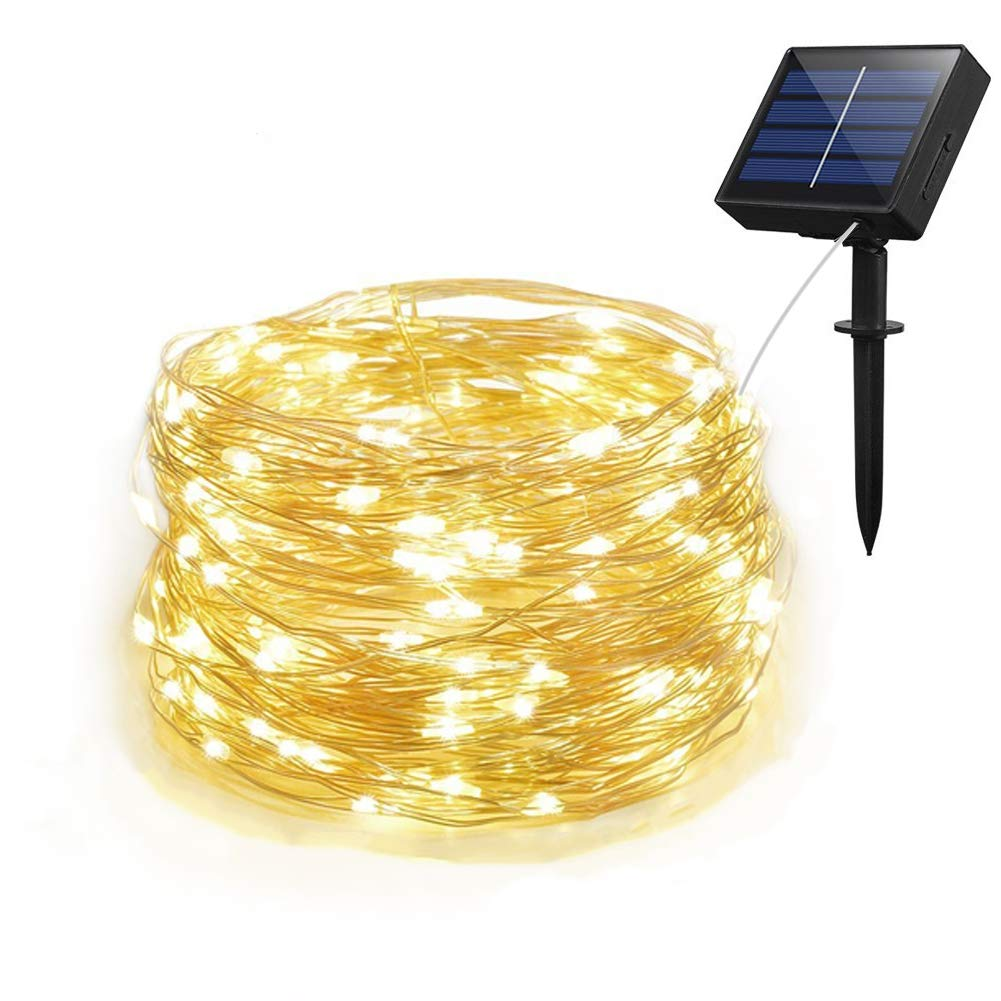 Adecorty Solar String Lights, Outdoor String Lights with 100 LEDs 33ft Silver Copper Wire 8 Modes Waterproof Solar Fairy Lights for Outdoor Gate Yard Garden Patio Landscape Trees Decor (Warm White)