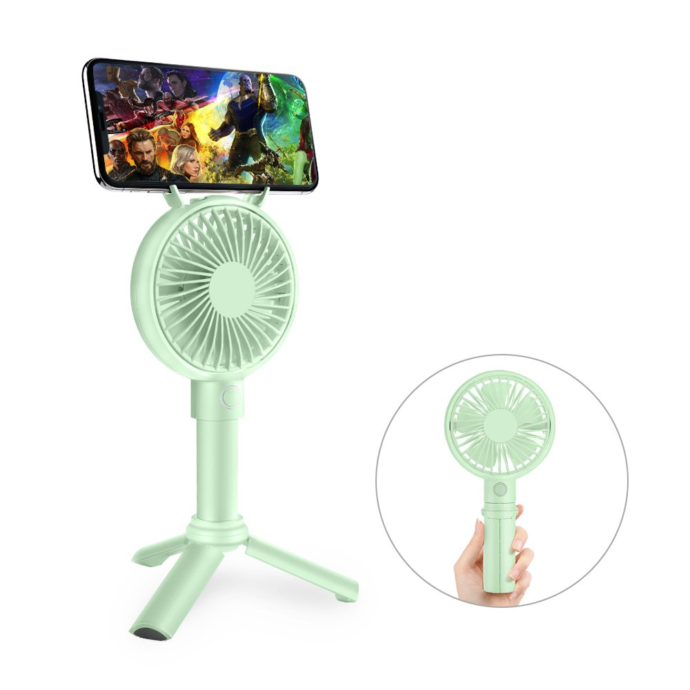 Handheld Fan, GAVAER Mini Portable Fan Rechargeable Battery Operated, Desk Electric Fan for Travel Camping Office Home [Telescopic Handle] [Phone Holder] [3 Speeds] (Green)