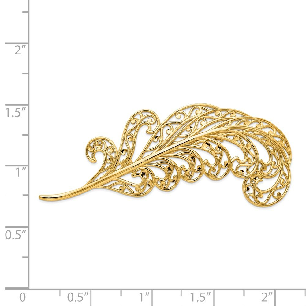 Roy Rose Jewelry 14K Yellow Gold Filigree Feather Pin