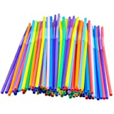 Colorful Extra Long Flexible Bendy Party Disposabl Drinking Straws, 100 Pieces