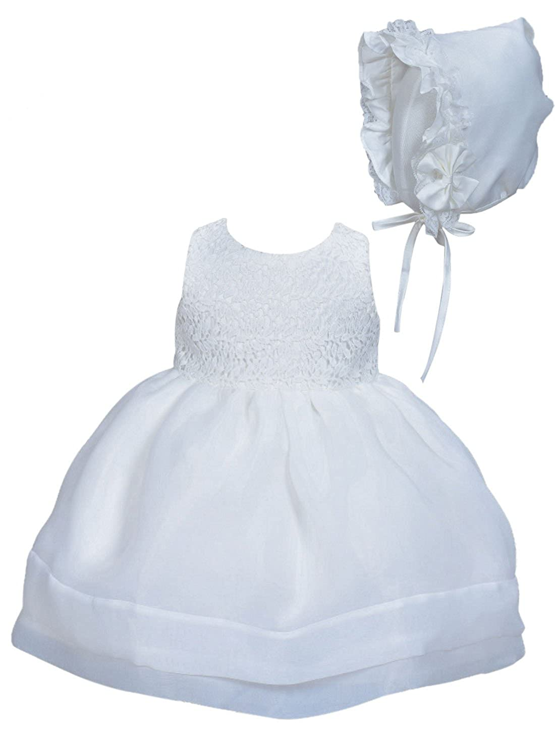 Cinda Baby Girls' Lace Christening Party Dress With Bonnet Happy Cherry