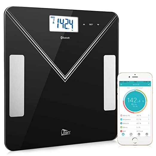 Bluetooth Body Fat Scales 400lb Smart Digital Bathroom Scale for Weight, Body Composition Analyzer for iOS Android APP with Step-On Technology, BMI, AMR, BMR, Body fat, Muscle, Water, Bone and Calorie