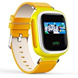 Witmoving Childrens Smart Watch GPS Tracker Kids Wrist Watch Phone with Sim Card Slot Anti-lost SOS Parent Control By IOS Android Smartphone (Yellow with Orange)