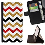 Graphic4You GLITTER CHEVRON PATTERN Thin Wallet Card Holder Leather Case Cover for LG V20