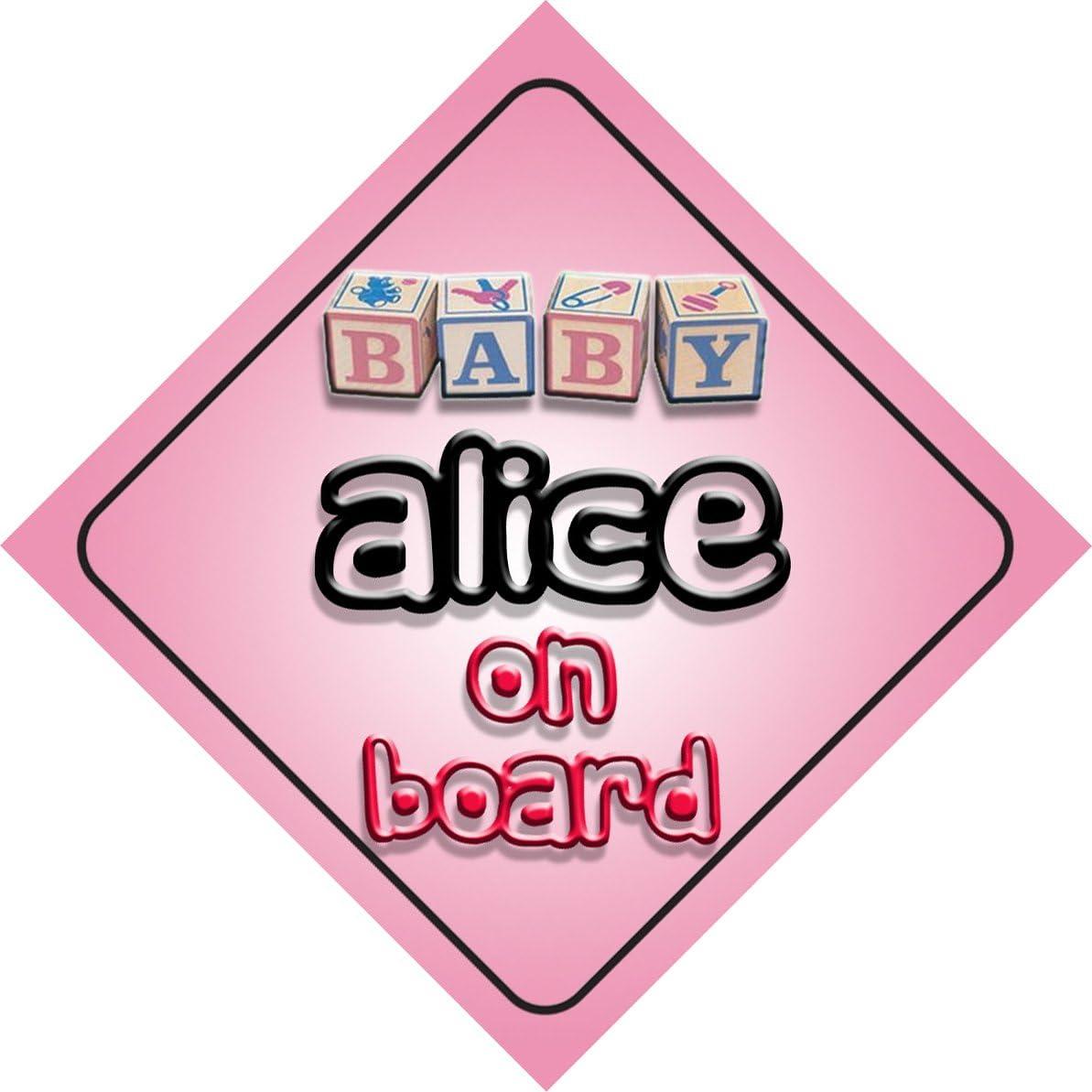 B/éb/é Fille Alice on Board fantaisie Panneau de voiture Cadeau//cadeau pour nouveau//enfant nouveau-n/é