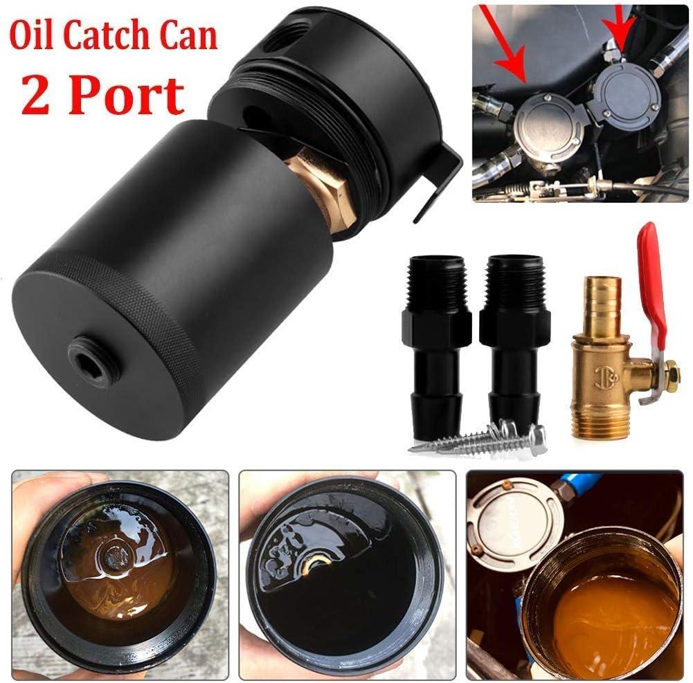 lqgpsx /Ölentl/üftungstank Verbl/üfftes Aluminium 2-Port Luft/ölabscheider /Ölfangdose