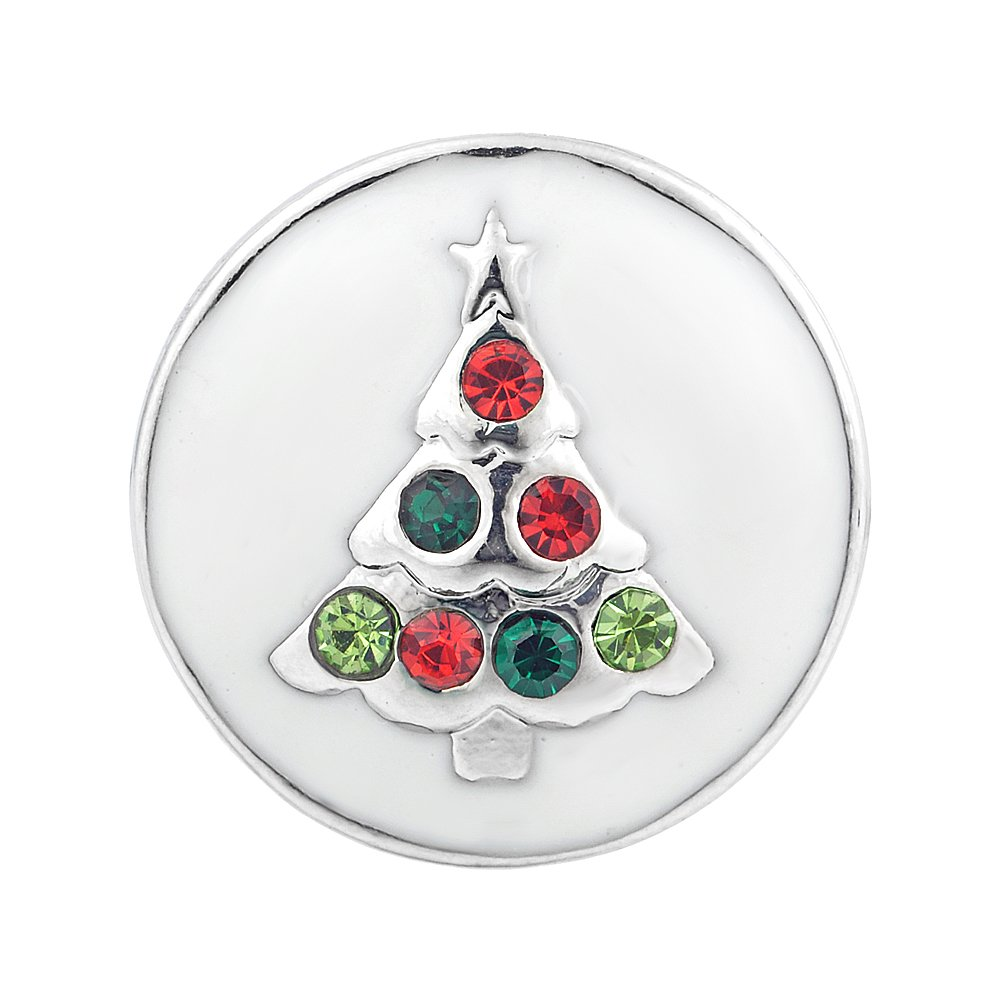 Vocheng Snap Charms 18mm Christmas Tree Button Crystal Interchangeable Jewelry Vn-871 Pack of 2pcs
