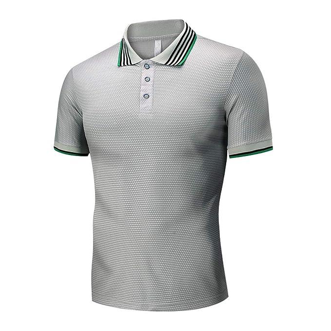 YpingLonk_ Camisetas de Hombre Camisa Polo, Sencillo Mangas de ...