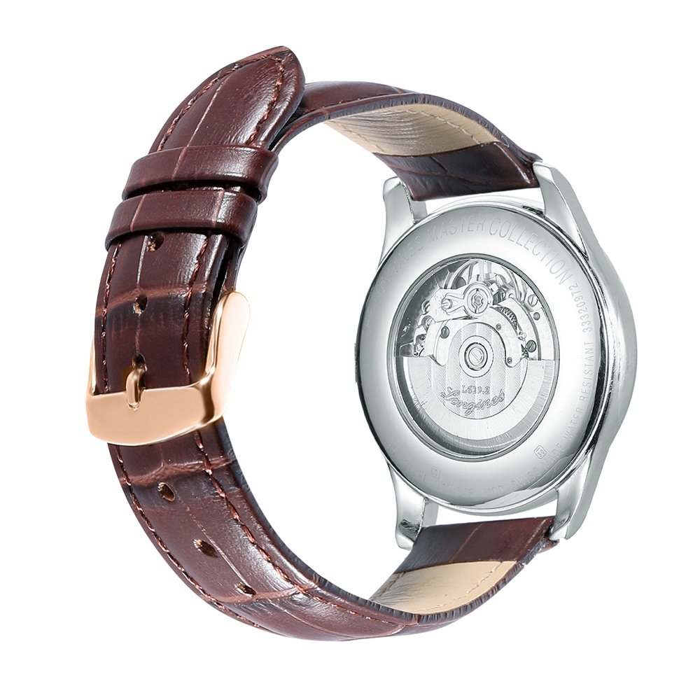 iStrap 20mm Calfskin Replacement Watch Band With Rose Gold Pin Buckle for Men Women - Brown