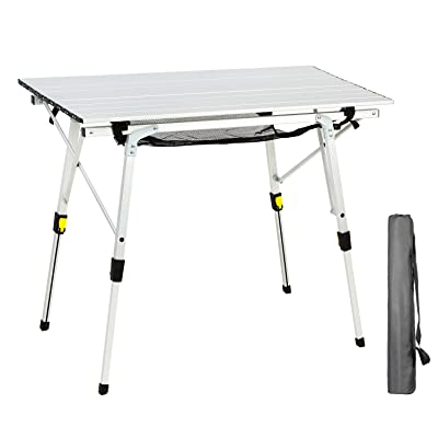 Portal Outdoor Folding Portable Picnic Camping Table with Adjustable Height Aluminum Roll Up Table Top Mesh Layer : Sports & Outdoors