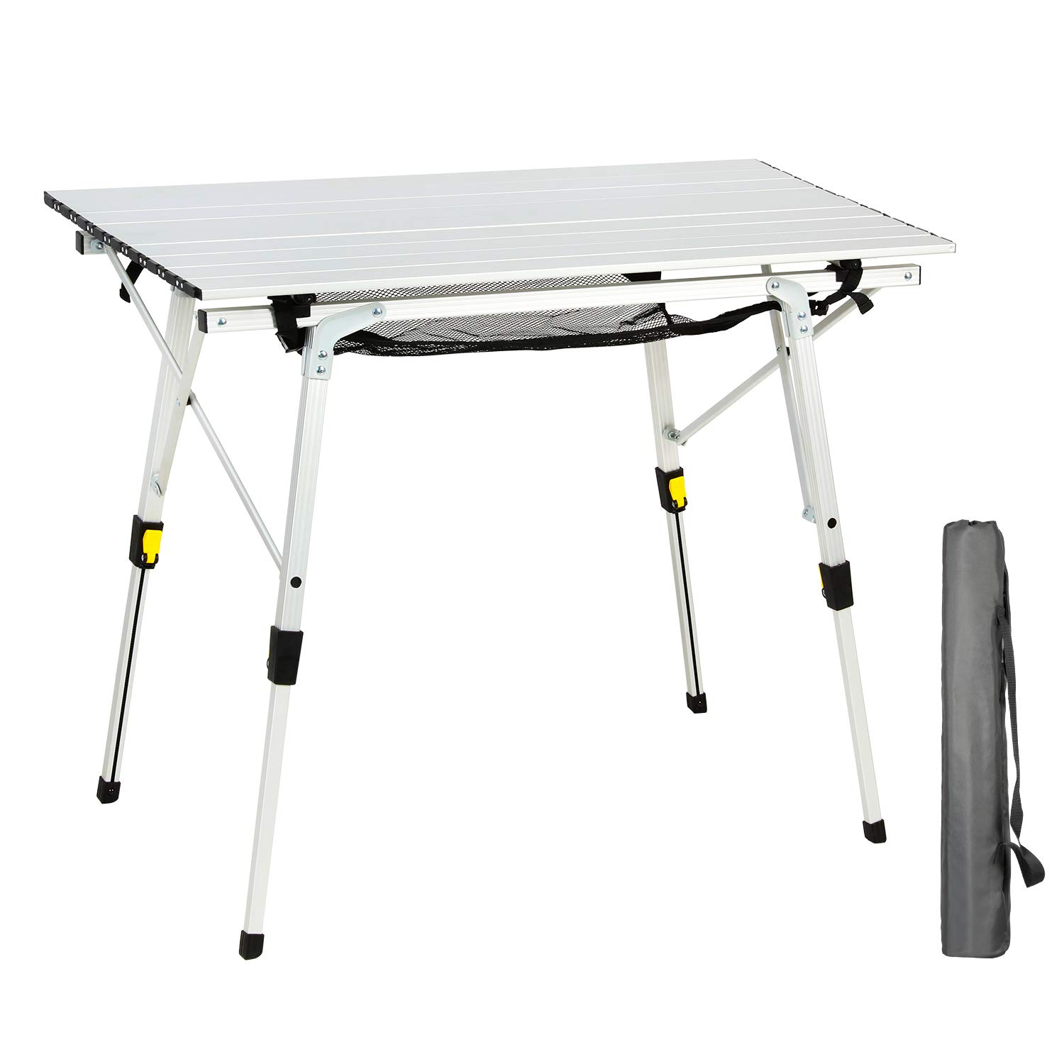 PORTAL Outdoor Folding Portable Picnic Camping Table with Adjustable Height Aluminum Roll Up Table Top Mesh Layer by PORTAL